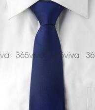 Blue Solid Plain Men Skinny Slim Narrow Woven Silk 6.5 cm Necktie Wedding Tie