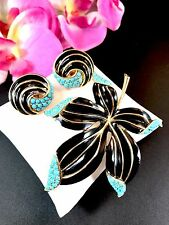 CROWN TRIFARI TURQUOISE BEAD BLACK ENAMEL 'ENCHANTMENT' LEAF BROOCH EARRINGS SET