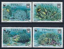 1992 TUVALU WWF BLUE CORAL SET OF 4 FINE MINT MNH