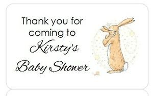 PERSONALISED PARTY BAG FAVOUR BABY SHOWER STICKERS GUESS HOW MUCH I LOVE YOU