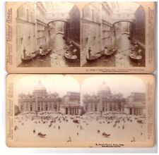 2 Stereoview Images St. Petr's Church Rome Italy, Bridge of Sighs. Venice.