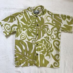 Manuhealiʻi Hawaii Boys Hawaiian Aloha Shirt Green White Floral COCONUT BUTTONS