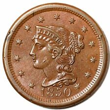 1850 N-14 R-4 EDS Braided Hair Large Cent Coin 1c