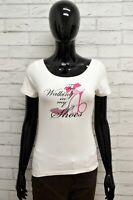 Maglia ROCCOBAROCCO Donna Taglia Size L Maglietta Shirt Woman Cotone Bianco Slim