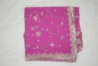 Vintage Dupatta Long Stole Chiffon Silk Pink Hand Beaded Wrap Veil