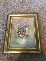 Vintage Oil Canvas Framed Painting Flowers In A Vase 8x10
