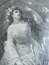 Antique Engraving Summer 1886 Nude Woman Nature Flowers Rare