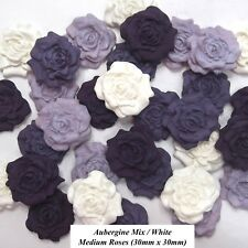 12 Purple Mix White Sugar Roses edible sugarpaste flowers cake decorations