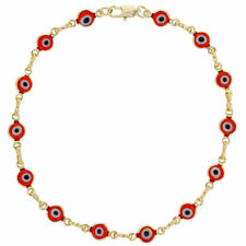 """18K GOLD PLATED RED EVIL EYE ANKLET 9.5"""" LONG FOR GOOD LUCK AND PROTECTION ENVY"""
