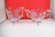 Vintage Clear Glass Footed Creamer & Sugar Bowl Etched Flower