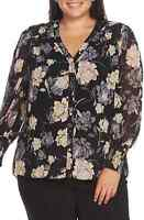 $109 Plus Size Women's Vince Camuto Enchanted Floral Smock Cuff Blouse 3X