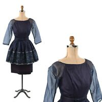 Vintage 50s Sheer Chiffon Navy Blue Lace Illusion Peplum Cocktail Party Dress S