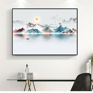 Chinese Ink Sunrise Mountain Landscape Painting Canvas Art Poster Wall Decor New
