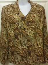 Lauren Lee Paisley Long Sleeve Button Up Blouse Size 16