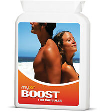 MyTan Boost Tan Tablets 100 CAPSULES Safe, Natural Sun Tan Pills, Dark, Fast Tan