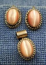 Hook Earrings & Pendant Dej519 Vintage Signed Mexican Pink Mop Shell