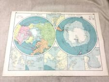 1920 Map of the Polar Regions Antarctic Arctic North South Pole Original