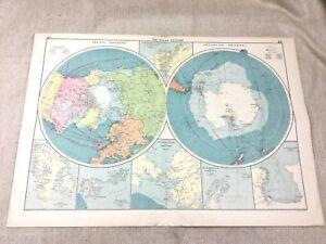 1920 Map of the Polar Regions Antarctic Arctic North South Pole Original