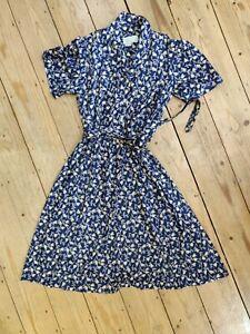 UK18 Nicole Lewis Collection Navy/Gold Tulips Vintage 60s Shirtwaist Tea Dress