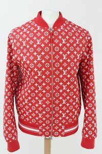 Louis Vuitton Supreme X Red Leather Monogram Logo Bomber Jacket Sz 50