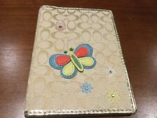 NEW COACH SIGNATURE C KHAKI/GOLD Butterfly PASSPORT CASE/HOLDER/WALLET