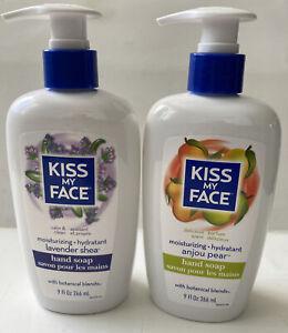 Kiss My Face Anjou Pear 9.0oz Hand Soap+Lavender Sher 9.0oz Hand Soap 2 Pcs.NEW