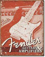 FENDER Guitarren + Verstärker Metallschild Metalltafel 425mm x 280mm ( de)