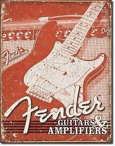 Fender Gitarren Und Ampere Verwitterte (PT) Wand Metallschild 425mm x 310mm (De)