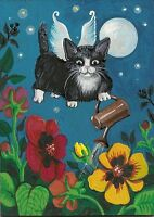 PRINT OF  ACEO PAINTING RYTA FAIRY TUXEDO PANSY CAT ANGEL FOLK ART FLOWER KITTEN