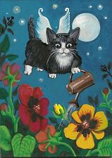 PRINT OF  ACEO PAINTING RYTA FAIRY TUXEDO PANSY CAT ANGEL FOLK ART FLOWER KITTEN