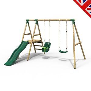 Rebo Odyssey Wooden Swing Set with Platform and Slide