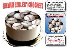 Baseball BALL Background 8 INCH ICING Edible Cake Topper Decoration Sports