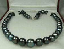 "8-9MM Genuine Black Akoya Cultured Pearl Fashion Jewelry Necklace 18"" AA+"