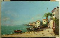 L Christus Ufer Von Meer Mittelmeer Dorf Von Fischer IN Italien c1900 Paint Hst