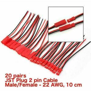 40x JST Plug Connector 2 Pin Male Female Plug Connector Cables 10CM Wires E6L3