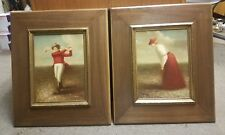 A Pair of Original Signed Oil Paintings by Timeless Treasures Old Time Golfers