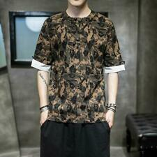 Men Short Sleeve Chic Tops Chinese Style Pullover Camouflage Loose T-Shirt