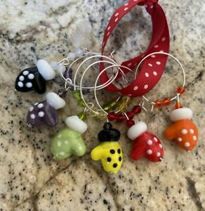 NEW! Mitten, glove Holiday Christmas Wine Charms  Set Of 6