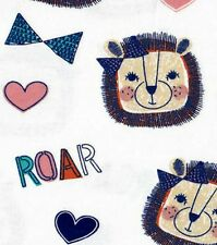 """ROARING LIONS WITH BOWS AND HEARTS ON WHITE COTTON FLANNEL MATERIAL 2 YDS 42x72"""""""