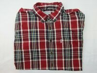 Carhart Mens Button Up Shirt Size 3XL Tall Short Sleeve Relaxed Fit Red Plaid