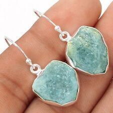 Aquamarine Rough 925 Silver Earrings Jewelry SE109407