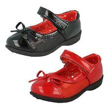 niña Cutie Negro Rojo Lazo Lentejuelas Llano CIERRE ADHESIVO Zapatos Fiesta