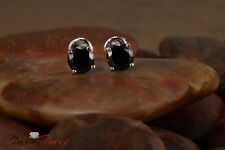 1.25 CTW Round Cut Black Stud Earrings in Solid 14k Real White Gold Screw Back