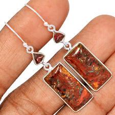 Pietersite - Namibia & Garnet 925 Sterling Silver Earring Jewelry AE170265