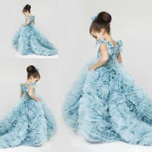 Pretty Flower Girls Dresses Ruched Tiered Ice Blue Puffy Girl Dresses for Party