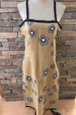 NWOT Aimee G Style Linen Dress - Olive Green - Blue Flowers - Medium