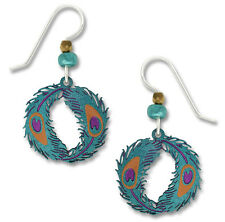 Peacock Feather Earrings - Sterling Silver Ear Wires - Handpainted in USA - NEW