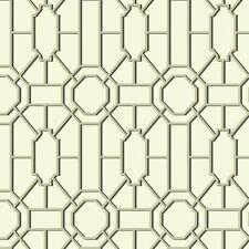 Williamsburg Geometric Lattice Black & Gold on Soft White Wallpaper WM2526
