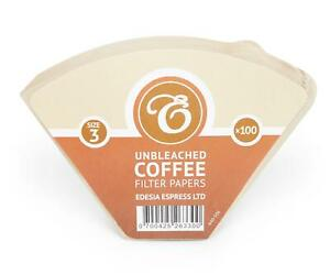 100 Size 3 / 102 Coffee Filters Papers Cones, Unbleached Brown Replacement