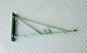 """Antique Scrolled Green Paint Wrought Iron Wall Bracket Porcelain Sign Hanger 28"""""""